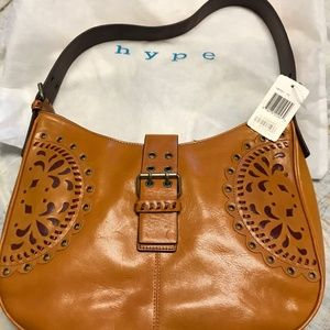 HYPE EYELET TAN/LIGHT BROWN LEATHER PURSE WITH TAG